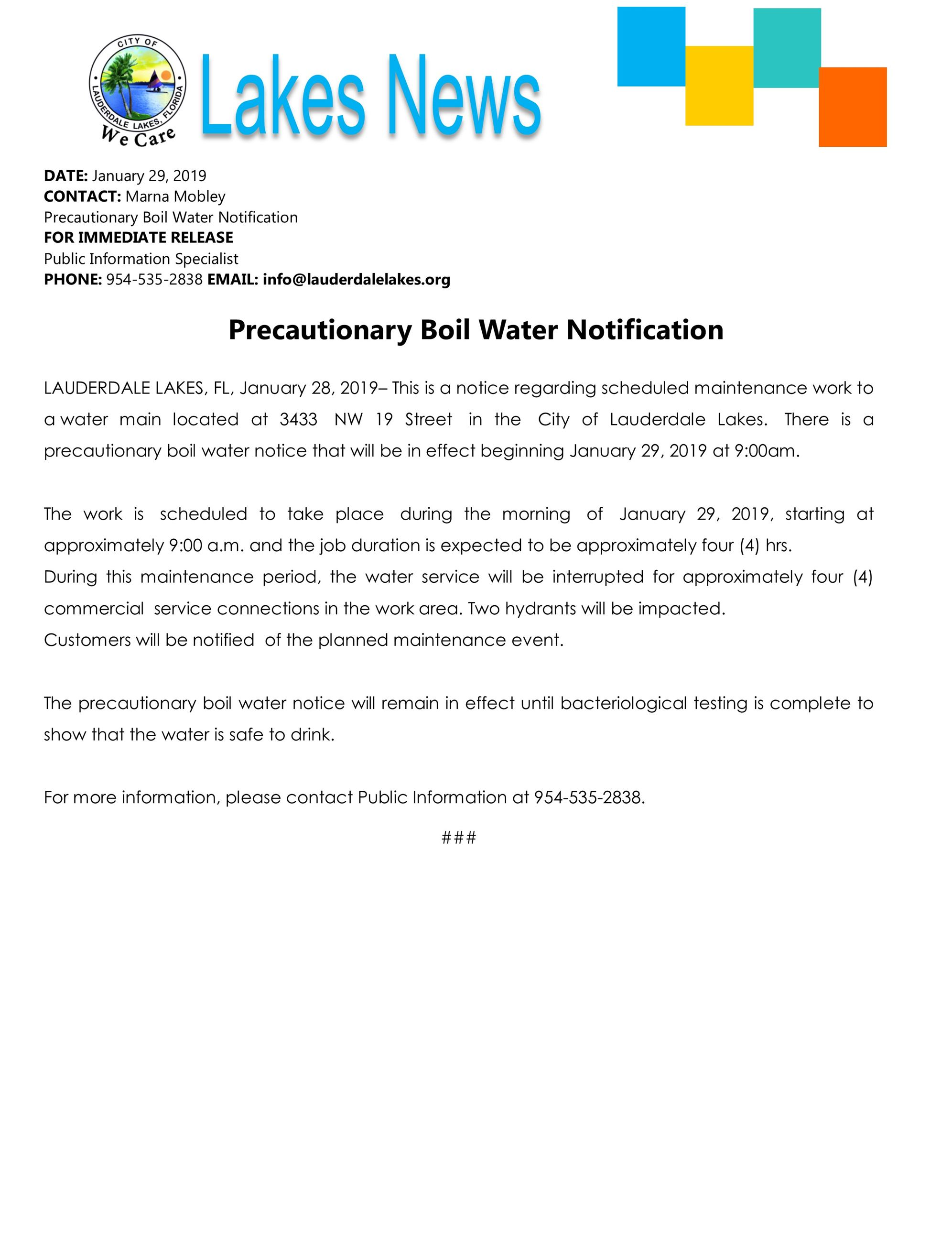 Press. precautionary boil water notice