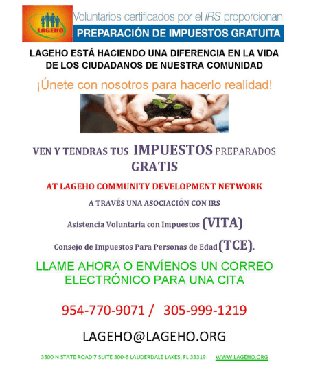 LAGEHO tax prep flyer spanish