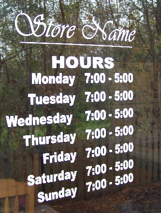 Window Sign - Hours