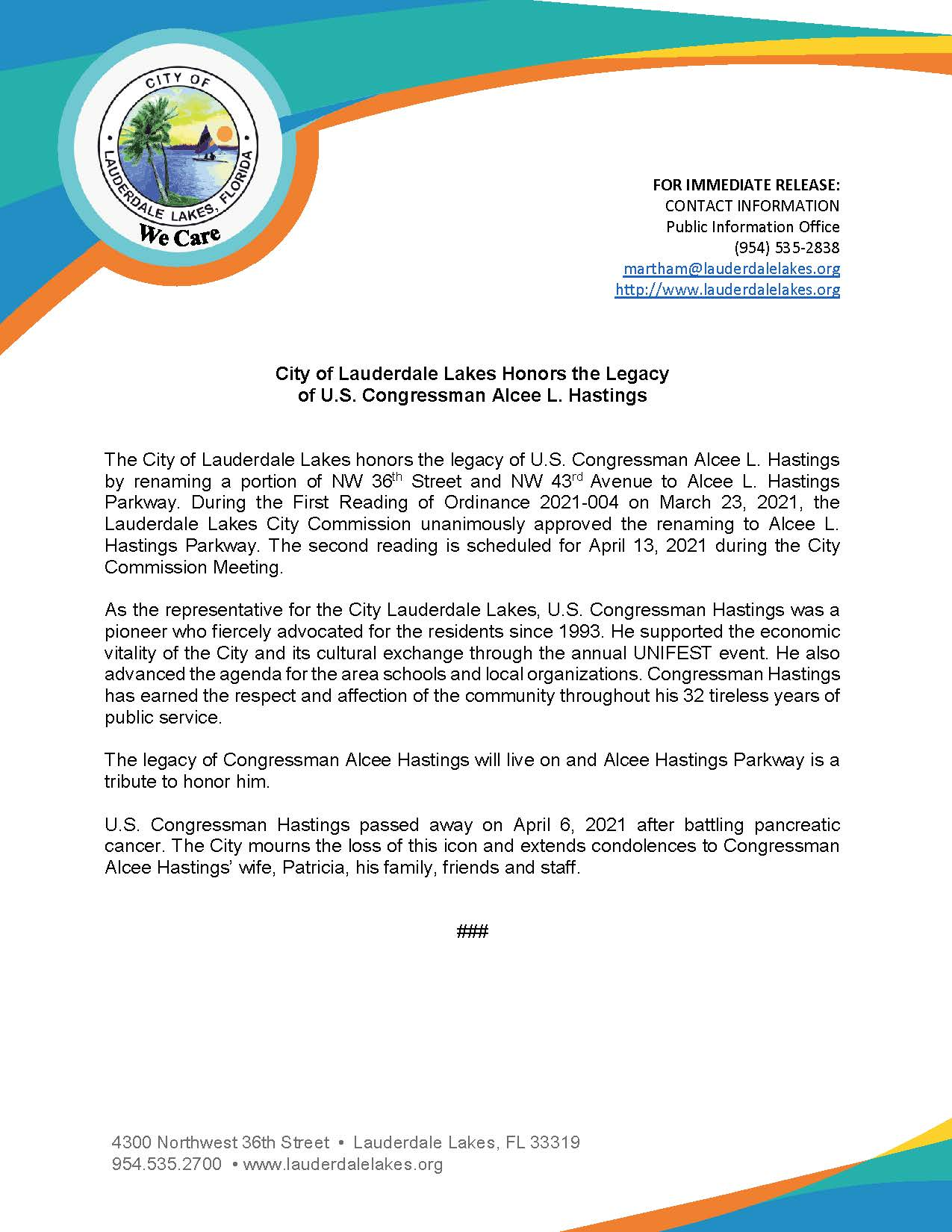 Press Release - Hastings Legacy