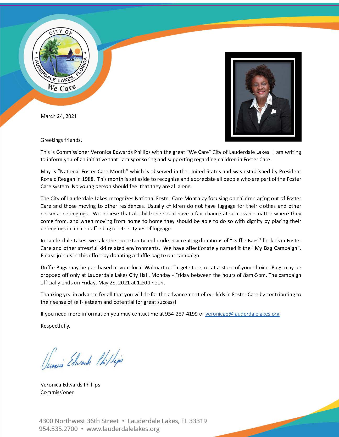 MY bag CAMPAIGN LETTER COMM VERONICA EDWARDS PHILLIPS  2021