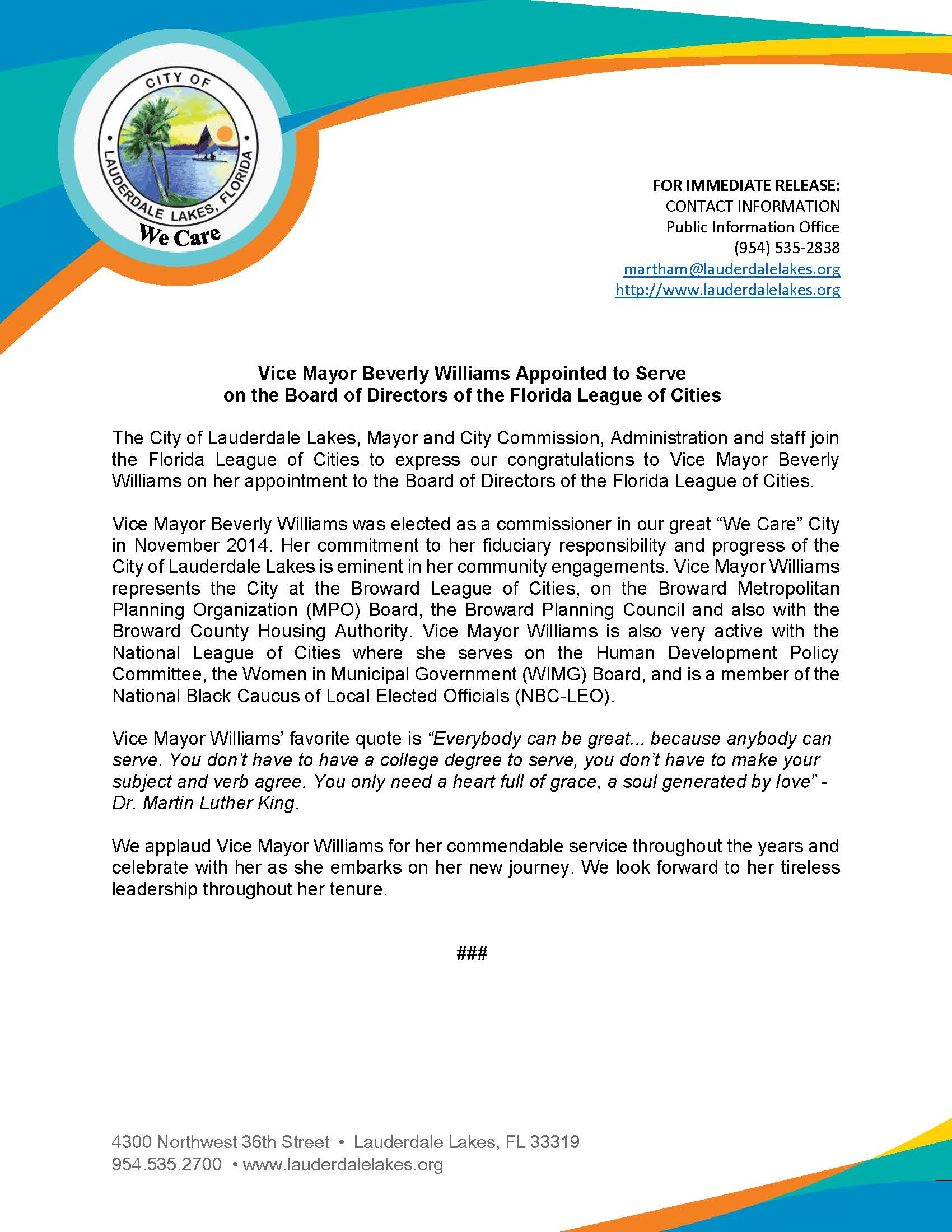 Press Release - Vice Mayor Williams Appointed to FL League of Cities Board of Directors